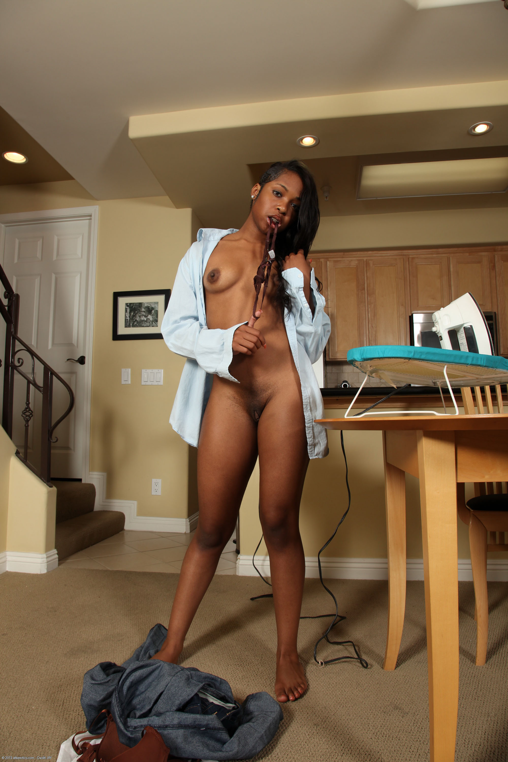 18 year old ebony babe nails her ass on a stiff cock - 1 3